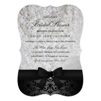 Elegant Black & White Bow Bridal Shower Invitation