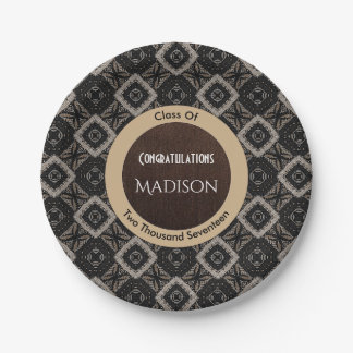 Elegant Black, White & Brown Graduation Paper Plate