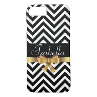 Elegant  Black white chevron golden bow monogram iPhone 8/7 Case