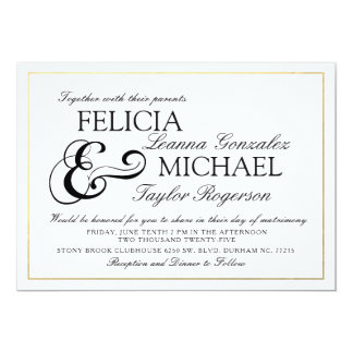 Elegant Black   White Classic Style Wedding Invite