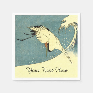 Elegant Black White Crane Flying over Ocean Wave Paper Napkins