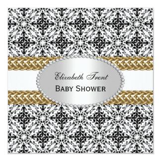 "Elegant Black White Damask #2 Gold Baby Shower #2 5.25"" Square Invitation Card"