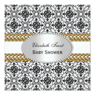 Elegant Black White Damask #2 Gold Baby Shower #2 Card
