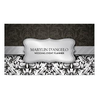 Elegant Black & White Damask and Metallic Silver Business Card