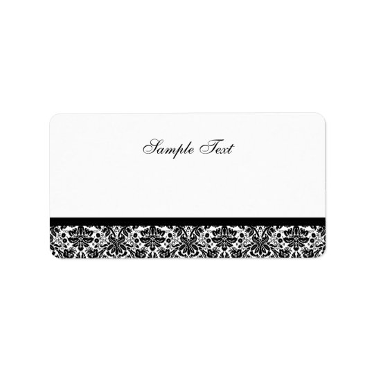 Elegant Black & White Damask Colour Select Label