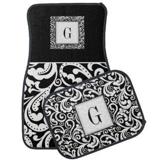 Elegant black, white damask floral monogram auto mat
