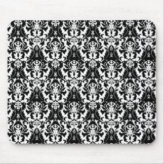 Elegant Black & White Damask Mouse Pad