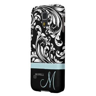 Elegant Black & White Damask Pattern with Monogram Case For Galaxy S5