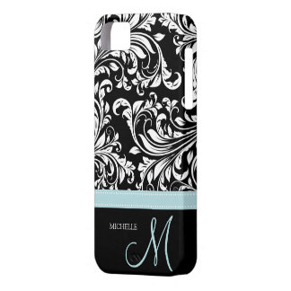 Elegant Black & White Damask Pattern with Monogram iPhone 5 Cases