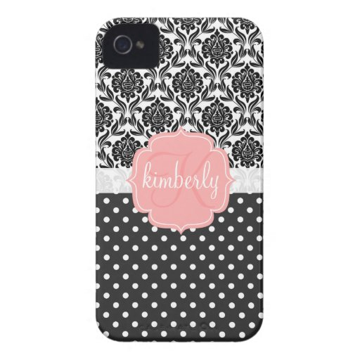 Elegant Black & White Damask Pink Girly Monogram iPhone 4 Case-Mate Case