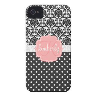 Elegant Black & White Damask Pink Girly Monogram iPhone 4 Covers