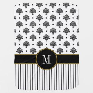 Elegant Black White Damask Stripes | Gold Monogram Baby Blanket
