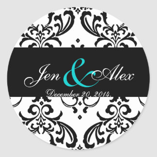 Elegant Black White Damask Wedding Sticker Aqua