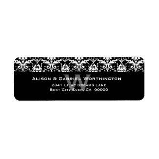 Elegant Black White Feather Damask Wedding S546 Return Address Label