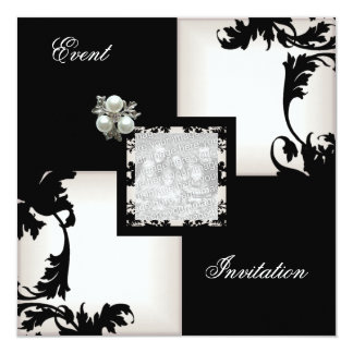 Elegant Black White Floral Check Pearl Jewel Card