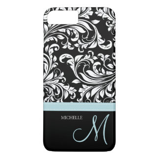 Elegant black & white floral damask with monogram iPhone 7 plus case