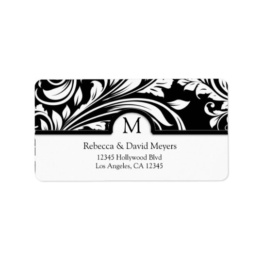 Elegant Black & White Floral Damask with Monogram Label