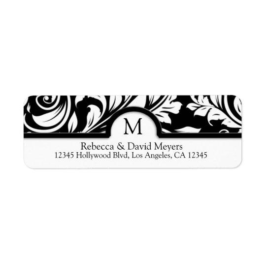 Elegant Black & White Floral Damask with Monogram Return Address Label