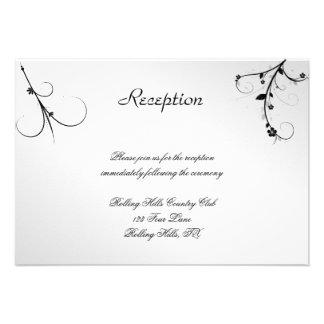 Elegant Black White Floral Gay Wedding Reception Custom Invite