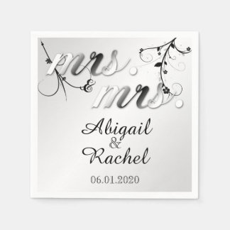 Elegant Black White Floral Mrs Wedding Napkin Paper Napkins