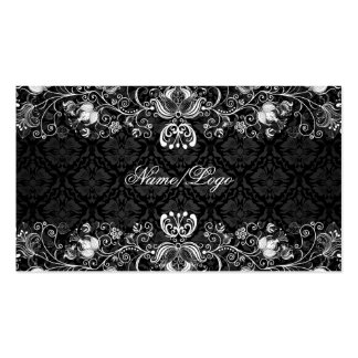 Elegant Black & White Floral Swirls Business Card Template