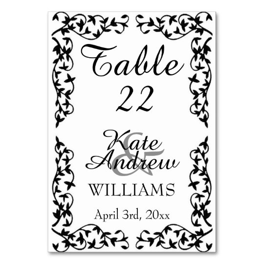 Elegant Black/White Floral WEDDING TABLE CARD