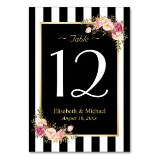 Elegant Black White Floral Wedding Table Number Table Cards