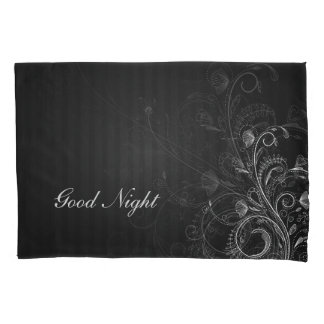 Elegant black white floral. Your Text Pillowcase