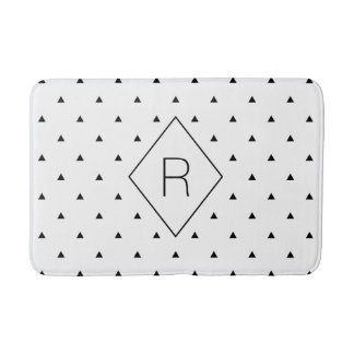 Elegant black white geometric pattern | triangles bath mat