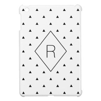 Elegant black white geometric pattern   triangles case for the iPad mini