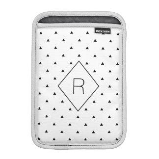 Elegant black white geometric pattern | triangles iPad mini sleeve