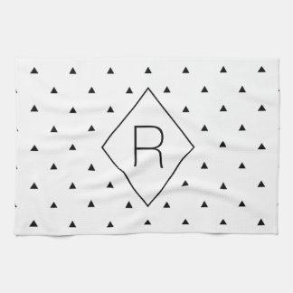 Elegant black white geometric pattern   triangles kitchen towel