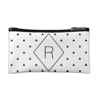 Elegant black white geometric pattern | triangles makeup bag
