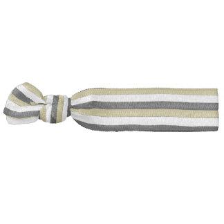 Elegant Black White Gold Brown Stripes Hair Tie
