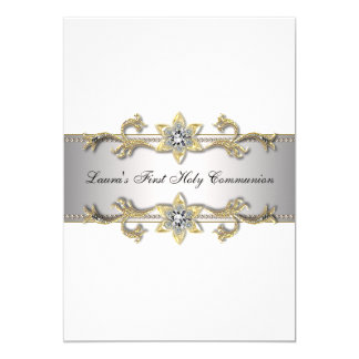 Elegant Black White Gold Girls First Communion Card