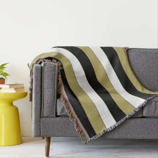 Elegant Black White Gold Stripes Pattern Stylish Throw Blanket