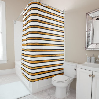 Elegant Black White Golden Stripes Lines Minimal