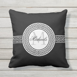 Elegant Black | White Greek Key Monogram Throw Pillow