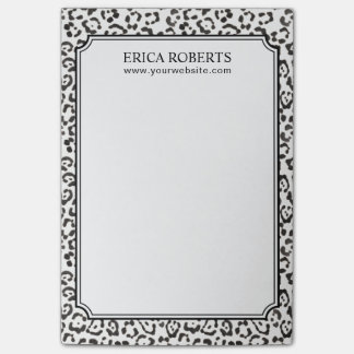 Elegant Black & White Leopard Print Post-it Notes
