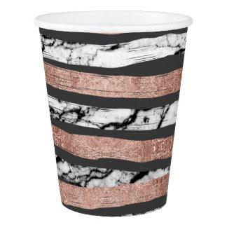 Elegant Black White Marble Rose Gold Brushstrokes Paper Cup