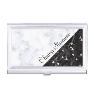 elegant black white marble rose gold geometric business card holder