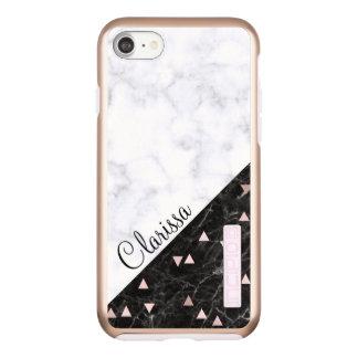 elegant black white marble rose gold geometric incipio DualPro shine iPhone 8/7 case