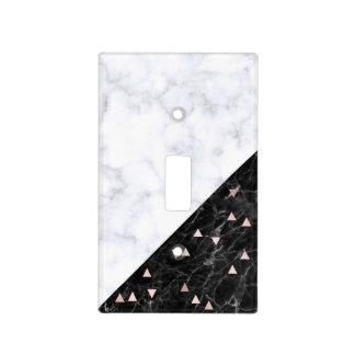 elegant black white marble rose gold geometric light switch cover
