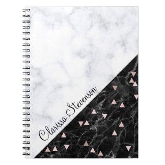 elegant black white marble rose gold geometric notebooks