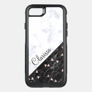 elegant black white marble rose gold geometric OtterBox commuter iPhone 8/7 case