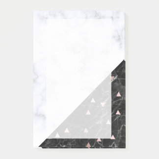 elegant black white marble rose gold geometric post-it notes