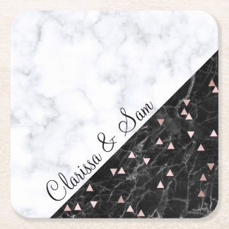 elegant black white marble rose gold geometric square paper coaster