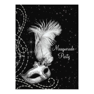 "Elegant Black White Masquerade Party 6.5"" X 8.75"" Invitation Card"