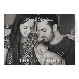 Elegant Black & White Merry Christmas Family Card