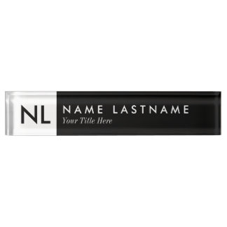 Elegant Black White Monogram Desk Nameplate